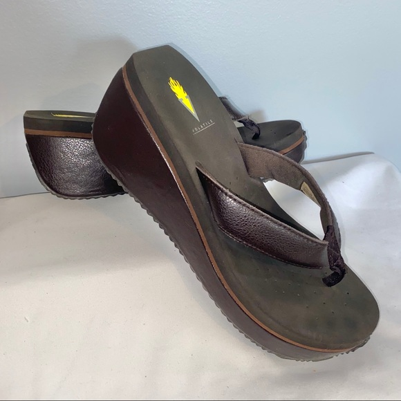 Volatile Chocolate Brown Wedge Flip Flops